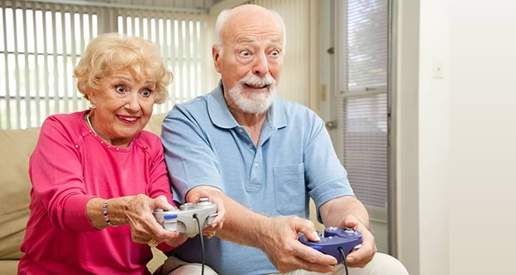 Old people playing retro games
